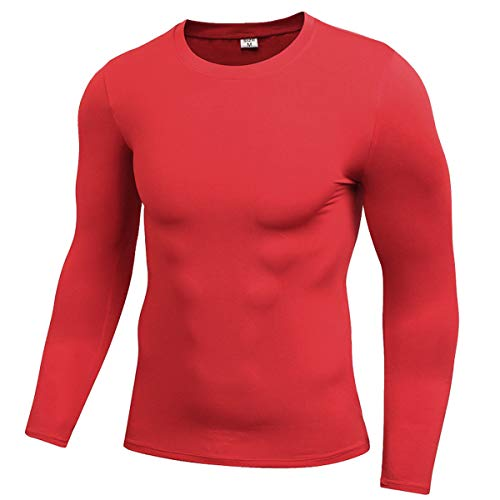 - ENIDMIL Men's Long Sleeve T-Shirt Baselayer Cool Dry Skin Fit Compression Shirt (M, Red)