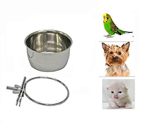 Cage Bowl (Pet Dog Stainless Steel Coop Cups with Clamp Holder - Detached Dog Cat Cage Kennel Hanging Bowl,Metal Food Water Feeder for Small Animal Ferret Rabbit (Small))