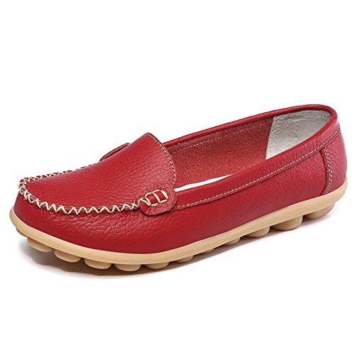 SCIEN Women's Casual Loafers Genuine Leather Driving Moccasins Slip-On Flat Shoes, Red 10 - Leather Like Finish