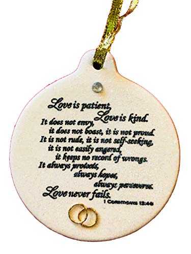 - Laurie G Creations Corinthians 13.4 Love Is Patient Wedding Anniversary Porcelain Ornament Christmas Rhinestone Detail Gift Boxed