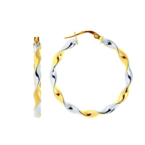 Aleksa Ladies 14K White & Yellow Gold Shiny Round Two-Tone Large Twisted Hoop Earrings with Hinged Clasp (Platinum Hinged Earring)