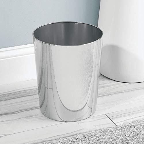 Fabricada en acero juego de 2 Preciosa papelera de dise/ño de color bronce Cubo de basura moderno para el ba/ño mDesign la oficina o la cocina Papelera met/álica