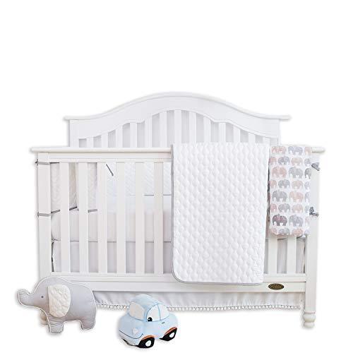 (TILLYOU 5 Pieces Soft Crib Bedding Set (Crib Bumper, Quilt, 2pcs Crib Sheets, Crib Skirt) - Herringbone Jacquard Microfiber Toddler Bed Set - Unisex Nursery Baby Bedding Set )