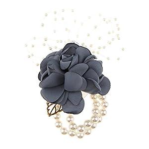 SM SunniMix Bridal Silk Pearl Wrist Corsage Wedding Party Prom Bridesmaid Flower Bracelet 33