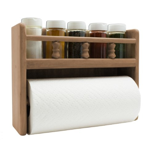 SeaTeak 62446 Paper Towel Rack with Spice Rack