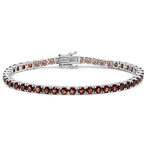 Dazzlingrock Collection 13.00 Carat (ctw) Real Round Cut Genuine Garnet Ladies Tennis Bracelet, Sterling Silver