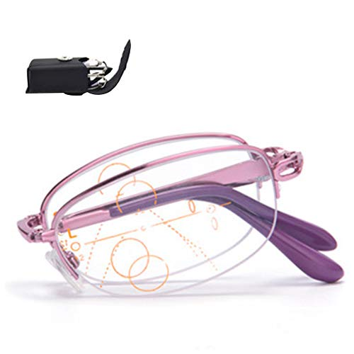 (AYHMT Reading Glasses X1, Spring Hinge Fashion Readers, Full Frame Compact Folding Portable Glasses for Reading, Far and Near (Purple, Pink) )