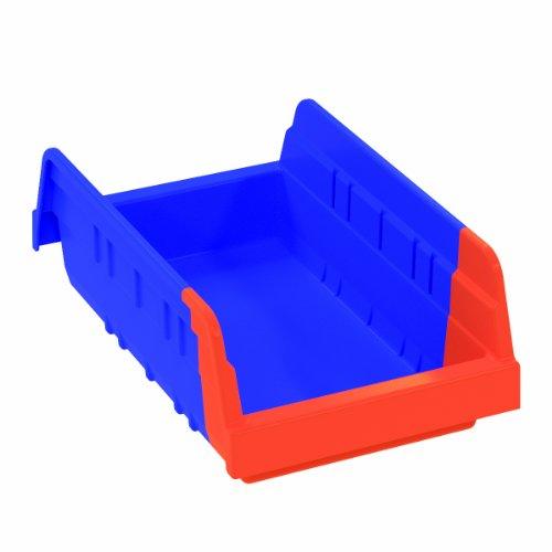 Akro-Mils 36462 Indicator Inventory Control Double Hopper Shelf Bin, 11-5/8-Inch L by 6-3/4-Inch W by 4-Inch H, Blue/Orange, Case of 12 ()