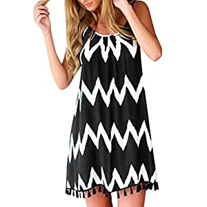 Tosonse Striped Dresses for Women Sexy Backless Sleeveless Halter Mini Dress with Tassel Hem