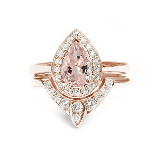 Pear Morganite Engagement Ring with Matching Side Diamond Band - The 3rd Eye Engagement and Wedding Rings Set