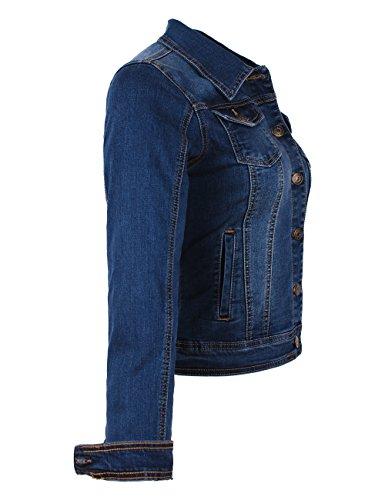 donna Fraternel Giacca stretch denim blouson di Jeans Blu 6ZSx4U