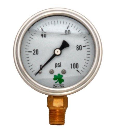 Zenport LPG100 Zen-Tek Glycerin Liquid Filled Pressure Gauge, 100 PSI, Box of ()
