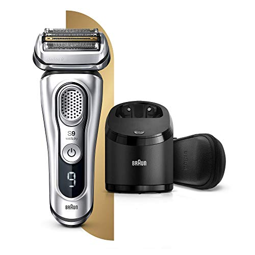 Braun Series 9 9390cc Latest Generation Electric Shaver Clean and Charge Station Leather Case Silver, 2 Pin Plug
