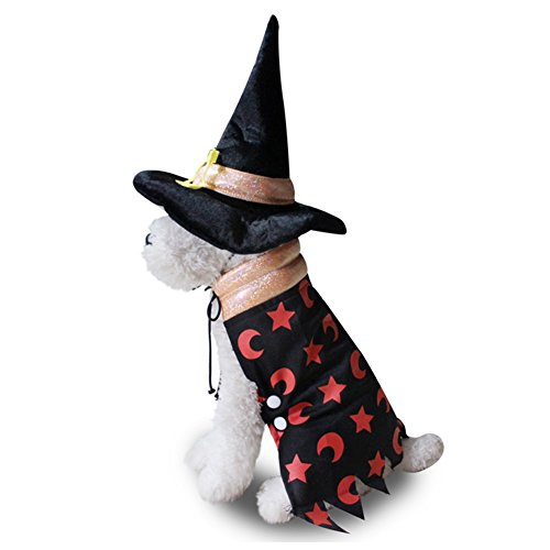 Dog Wizard Costume - Wizard Cloak with Hat Pet Costume, Halloween Costume Headwear Cosplay Accessories for Cats and Small Dogs]()