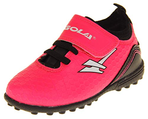 Gola Boys Girls Astro Turf Kids Sports Touch Fastening Lace Up Shoes Football Trainers Pink & Black 10 US Toddler