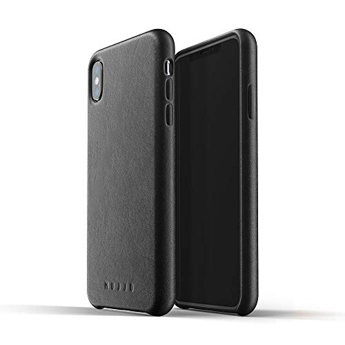 Mujjo Full Leather Case for iPhone Xs Max | Premium Genuine Leather, Natural Aging Effect | Super Slim, Leather Wrapped, Wireless Charging (Black)