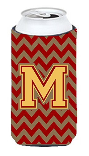 Letter M Chevron Garnet and Gold  Tall Boy Beverage Insulator Hugger CJ1048-MTBC ()