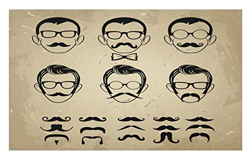 Ambesonne Geek Doormat, Male Face Silhouettes Showing Types of Moustaches and Haircuts Image, Decorative Polyester Floor Mat with Non-Skid Backing, 30