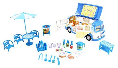 PlayMarket 28 Piece 2015-5 Splashy Sea Food Van Toy Set, Blue