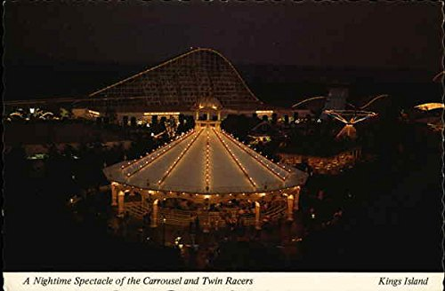 A Nightime Spectacle of the Carrousel and Twin Racers Kings Mills, Ohio Original Vintage - Spectacles 80s