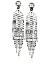 Kenneth Jay Lane 9 Row Gunmetal and Crystal Baguette Drop Earring