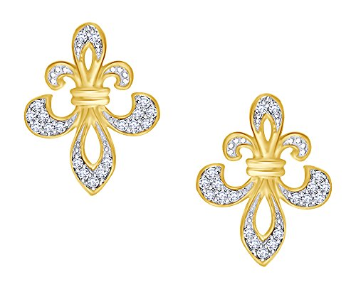 Round Cut Natural Diamond Fleur De Lis Earrings In 14K Yellow Gold Over Sterling Silver (1/8 Cttw)