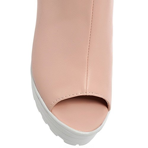 AllhqFashion Mujeres Cremallera Tacón ancho Material Mezclado Sólido Peep Sandalia Rosa