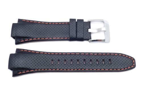 Seiko Genuine Textured Leather Sportura Kinetic Orange Stitching 15mm Watch Strap