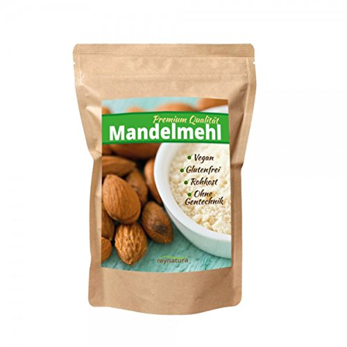 Mynatura 100% weißes Mandelmehl gemahlen( Low carb, glutenfrei, Feines, Ballaststoffen,veganen und Shakes), 1000g