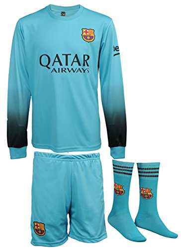 298b3693894 ... uk galleon 2015 2016 barcelona lionel messi 10 away turquoise football  soccer long sleeve jersey shorts