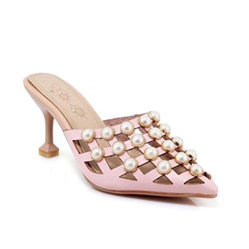de Sandalias verano tacón Flop zapatos perlas punta Flip rejilla QPYC de de de pink de senderismo mujer de en qCEOdw