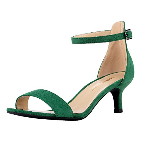 Women's Heeled Sandals Ankle Strap High Heels 5CM Open Toe Low Sandals Bridal Party Shoes Velvet Green Size 5 -