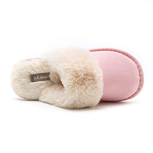 Slip Memory Pink Clog Soft Indoor Molodo For House Slipper Womens Slipper Winter Outdoor On Fluffy Slippers Foam EXx4Agawq