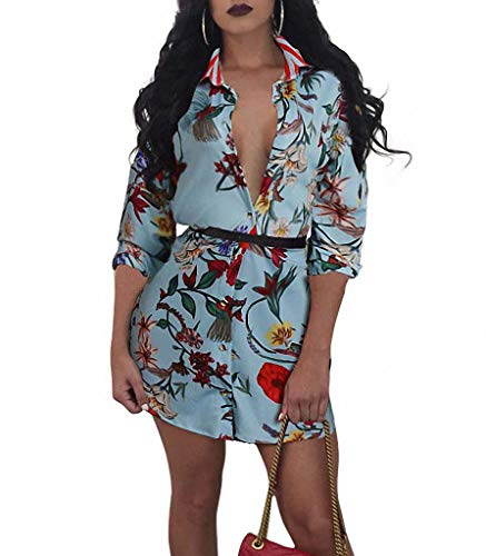 (Remelon Womens Light Blue Floral Print Button Down Collar Long Shirt Dress Blouse Mini Dress Light Blue Medium )