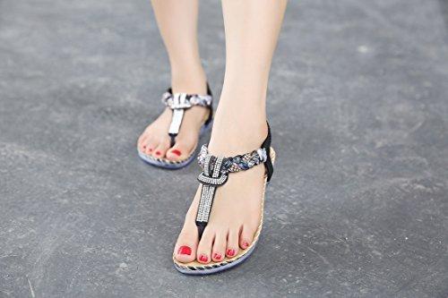 Sandales Femme strap 527 String Dqq Plat Noir T Perles Black TfCpTwYq