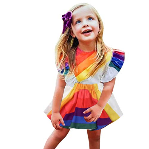 (MOVEmen Toddler Baby Girls Sleeveless Dresses Rainbow Print Backless Dress Clothes Princess Dress Tutu Beach Dress Wedding Party Evening Dress Beach Wind Sun Protection Clothing (90, Multicolour))