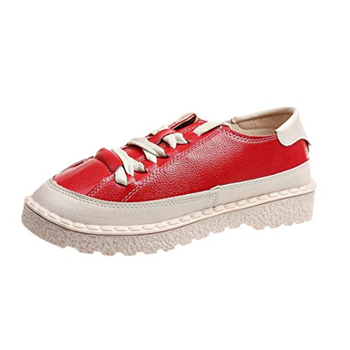 Women's Short Leather FALAIDUO Sports Girls Shoes Casual Flat Red Up Shoes Teen Boots Lace Fashion Ankle FSqOw