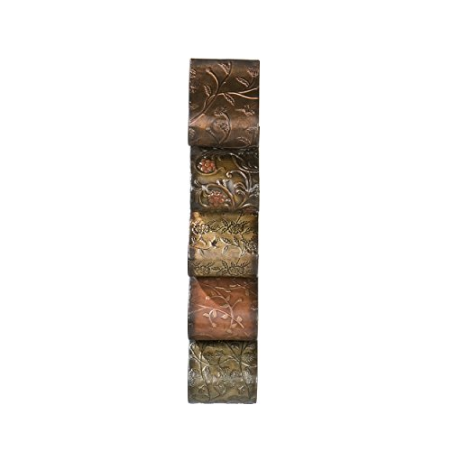 Earth Sculpture - Southern Enterprises Florenz 5 Wine Bottle Wall Mount Rack Sculpture, Hand Painted Earth Tones Finish