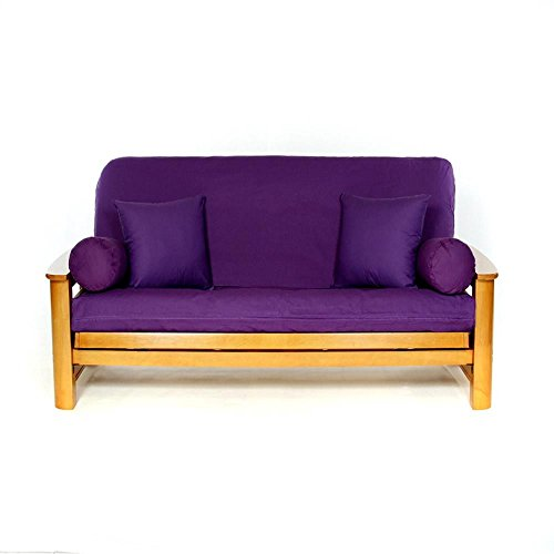 LS COVERS PURPLE FULL FUTON COVER, Full Size Fits 6-8in Mattress, 54 x 75 Inch (Futon Cover Purple)