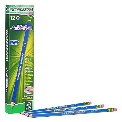 TICONDEROGA Erasable Checking Pencils with Eraser, Pre-Sharpened, Blue, Pack of 1 (12 ct) Dixon Erasable Colored Pencils