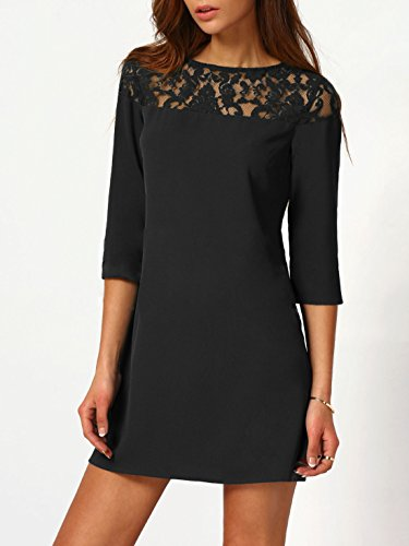 Sheer Black Sexy Neck Women's Casual SheIn Shift Lace Yoke Round Dress Wqv7pwP