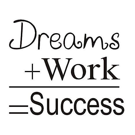 Sueños Trabajo éxito Citar Motivacional Wall Sticker Vintage