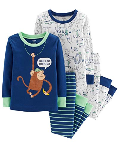 Carter's Toddler Boys 4 Pc Pajama PJs Sleep Play Sleep Snug fit Cotton,Navy/White Monkey,4T