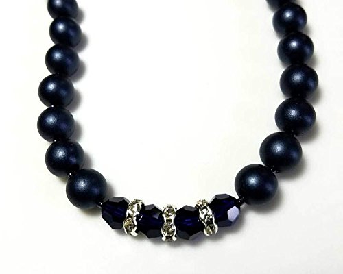 Swarovski Beaded Necklace - Satin Navy Czech Druk Beads and Dark Blue Swarovski Crystals Necklace with Clear Rhinestone Rondelles Beaded Elegant Single Strand Jewelry