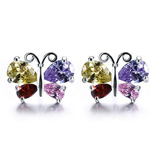 Butterfly Peridot Earrings - Jewelryamintra Butterfly Design Amethyst Peridot Garnet Gemstone Silver Flower Stud Earrings