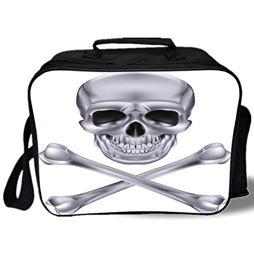 Silver 3D Print Insulated Lunch Bag,Vivid Skull and Crossbones Dangerous Scary Dead Skeleton Evil Face Halloween Theme Decorative,for Work/School/Picnic,Dimgray]()