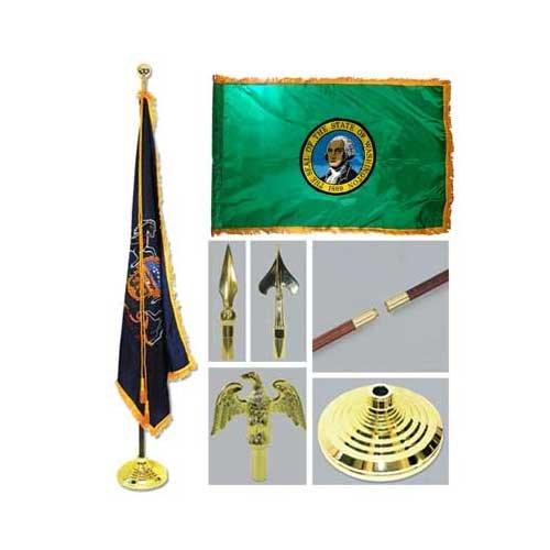 Washington 3ft x 5ft Flag Flagpole Base and Tassel