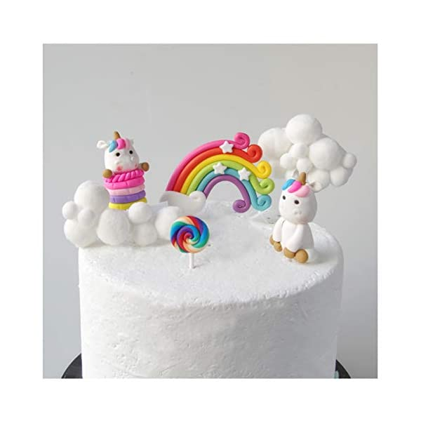 Cloud Rainbow And Unicorn Cake Toppers Kit (Set of 7) Kids Girls Birthday Cake Decoration Baby Shower Party Cake… 3
