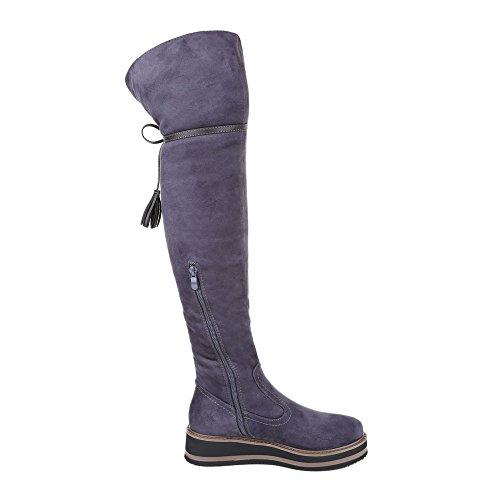 Ital-Design Overknee Stiefel Damen Schuhe Klassischer Stiefel Leicht Gefütterte Reißverschluss Stiefel Grau