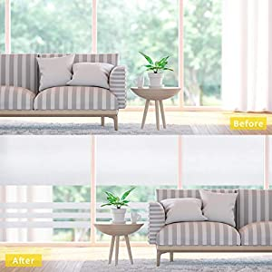 Puroma 2 Pack Privacy Window Film Non Adhesive Frosted Static Cling Window Fimls for Bathroom, Living Room and Meeting Room, 35.4 x 78.7 Inches